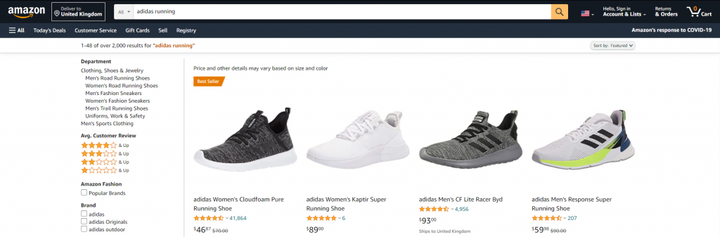 Amazon's search engine uses context to give better recommendations